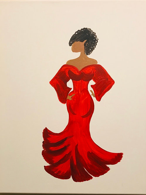 DIVA in gown personalized painting 16x20 canvas painting