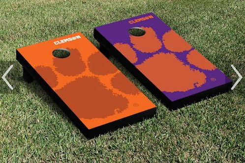 CLEMSON TIGERS CORN HOLE set wooden with bags