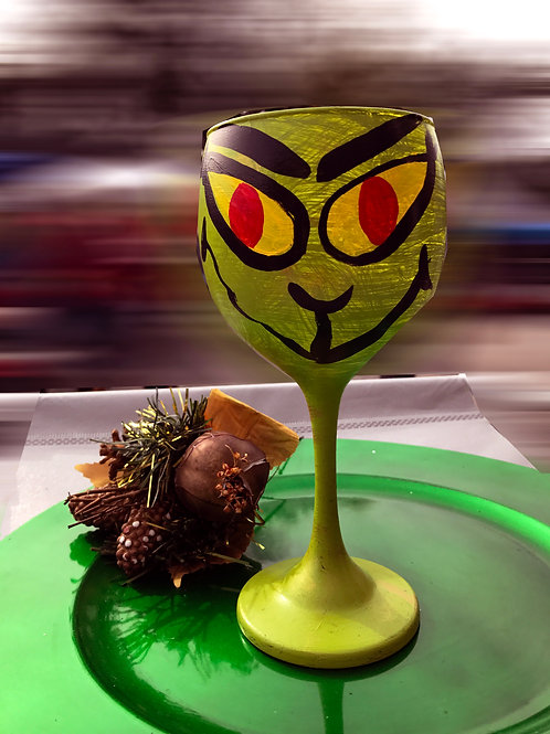 The Grinch wine glass