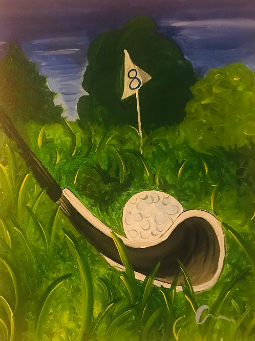 Golf landscape original 16x20 canvas