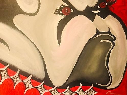 UGA Georgia Lady Bulldogs  16x20  canvas orginal art