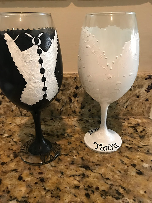 WEDDING BRIDE AND GROOM wine glass set
