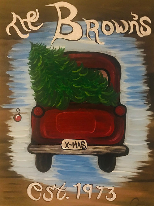 Red Truck Christmas personalized canvas orginal art