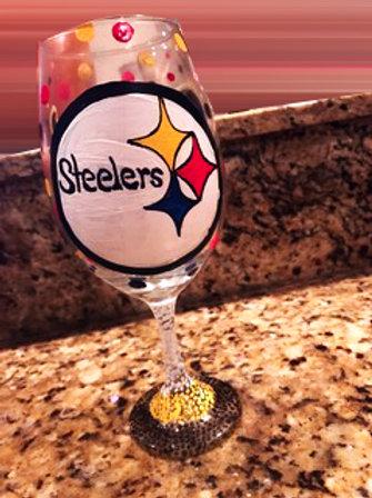 PITTSBURG STEELERS  wine glass