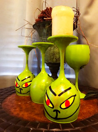 The Grinch wine glass candleholder