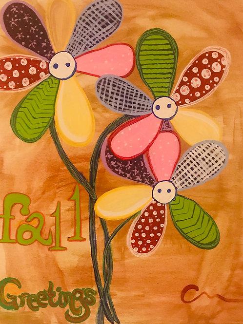Fall Greetings flowers original canvas painting 16x20