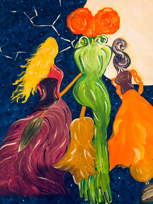 Sanderson Sisters Hocus Pocus Canvas Painting 16x20