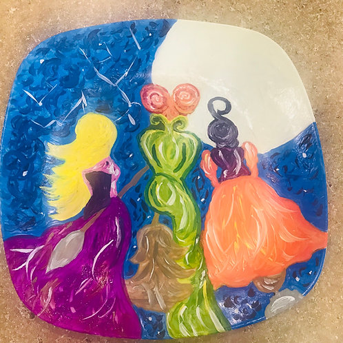 Hocus Pocus inspired  acrylic hand painted plate