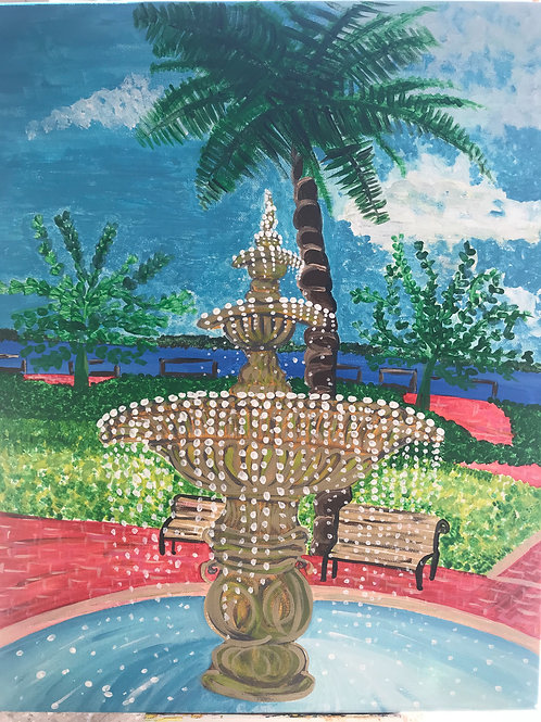 Fountain in the park canvas 16 x20