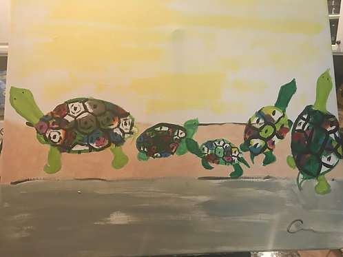 Turtles Abstract Canvas Painting 16x20