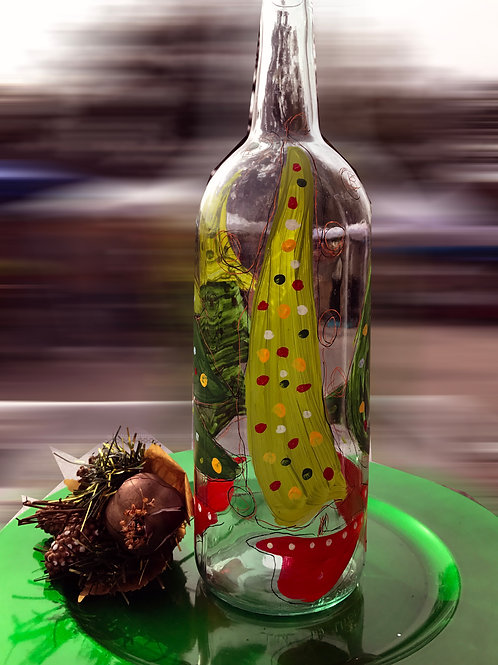 Whimsical Christmas Tree wine bottle