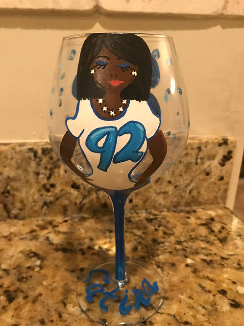 Team personalized character glass