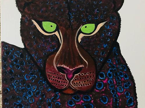 Funky Jaguar Canvas Painting 16x20