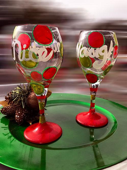 NAUGHTY and NICE  wine glass