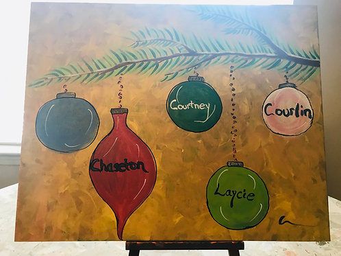 Personalized Christmas ornaments painting on canvas 16 x20