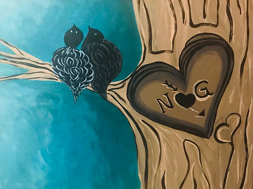 Personalized Love Birds and carved tree original canvas painting 16x20