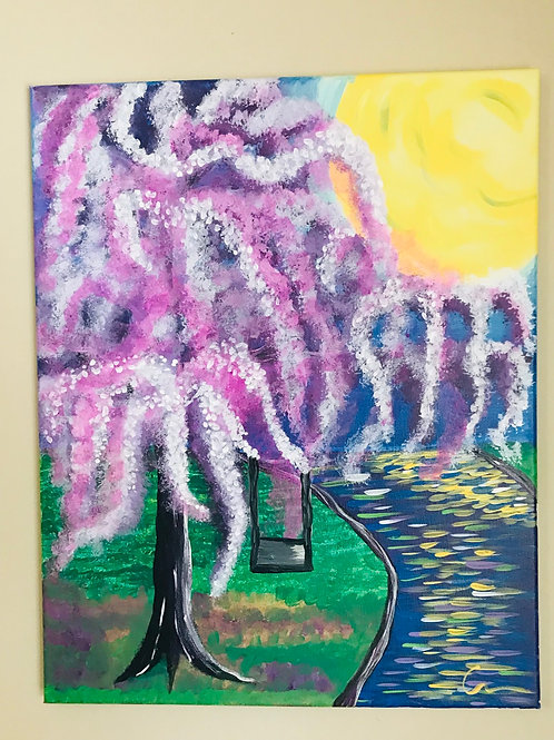 Willow landscape canvas painting 16x20