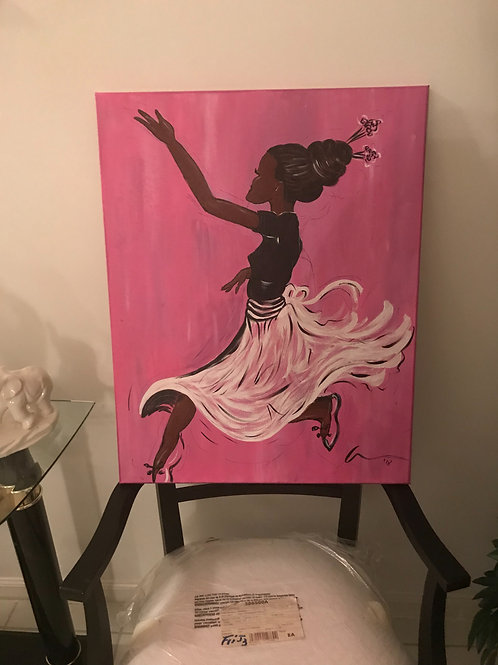 African American BLACK ballerina 16x20