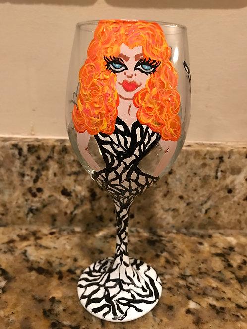 Lady in zebra dress personalized glass