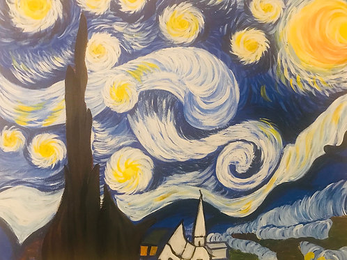 VAN GOGH'S STARRY NIGHT PAINT PARTY (CANVAS OR PLATE)