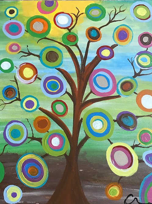 Retro abrstact tree circle art multi colored canvas painting