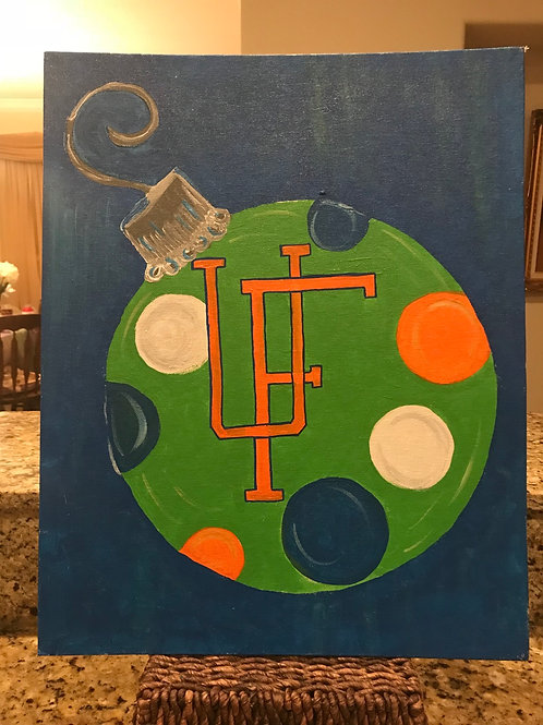 UF FLORIDA GATORS  Christmas Ornament  Hand Painted  canvas orginal art