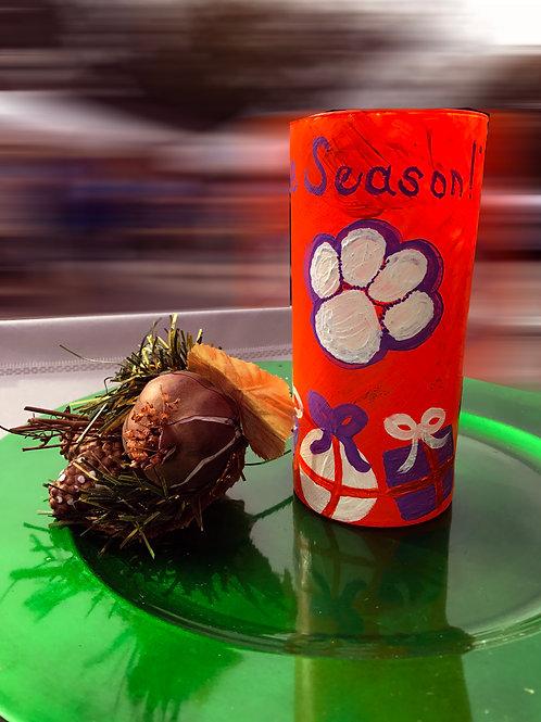 Clemson Tigers Christmas Tree Glass/Vase