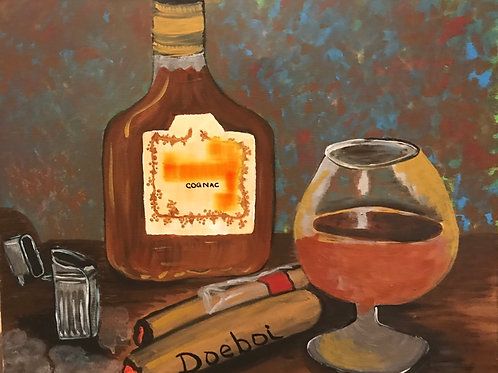Congac and Cigars Canvas Painting 16x20