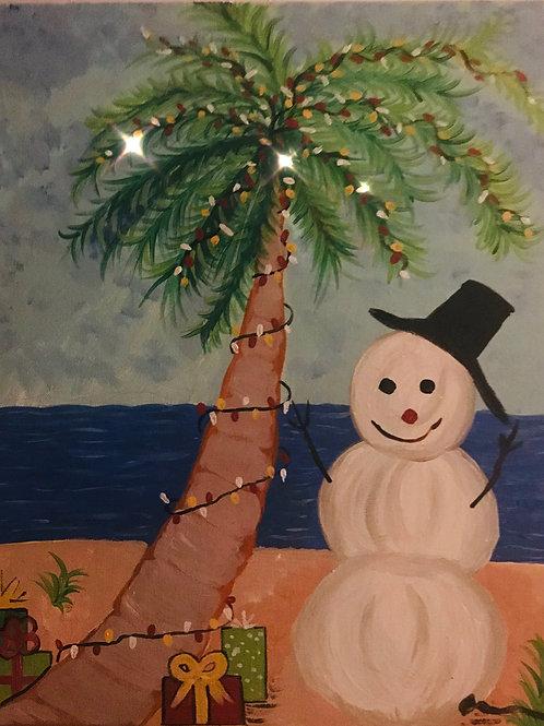 Christmas on the Beach 16x20 orginal art