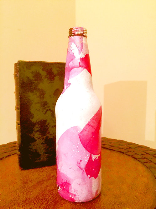 PINK DECOUPAGE BOTTLE