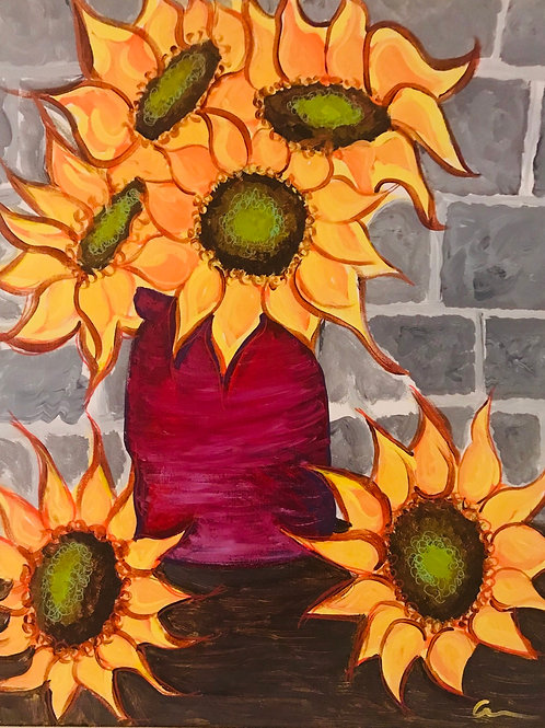 Sunflowers in vase acrylic canvas painting 16x20 in size