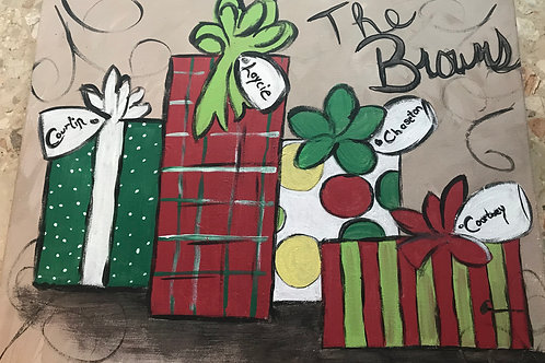 Personalized Christmas presents painting on canvas 16 x20