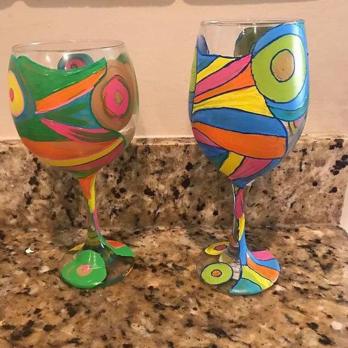 Retro customized wine glass