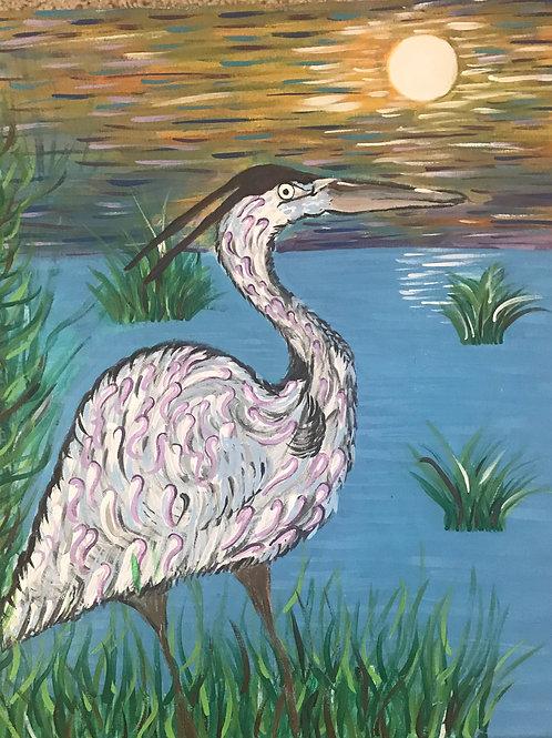 Crane on Canvas Painting 16x20