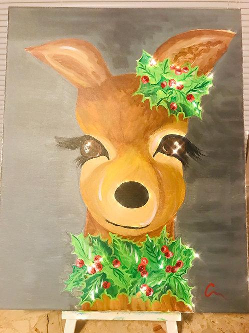 Holiday Deer on Canvas16x20 orginal art
