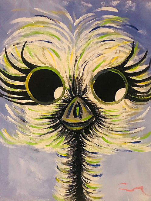 Baby Ostrich boy 16x20 acrylic canvas painting