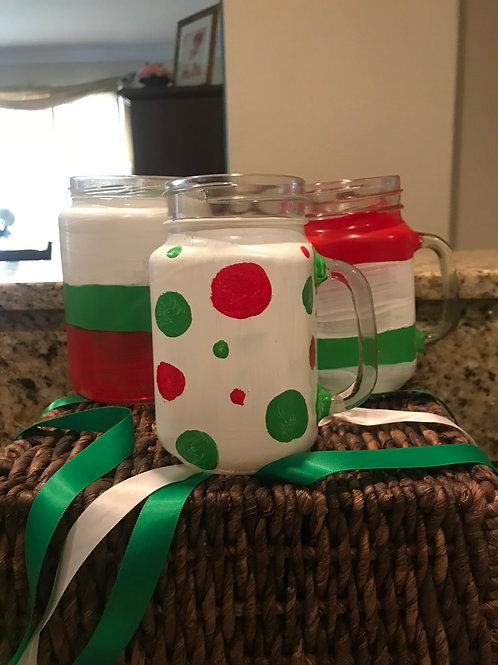 Holiday designed mason jar mug