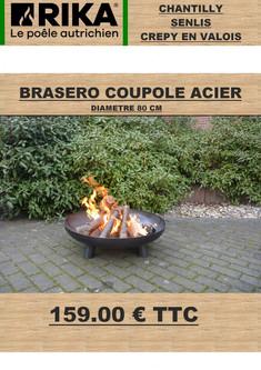 Brasero coupole acier diam 80 cm