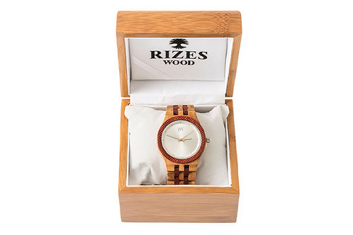 Olive wood watch