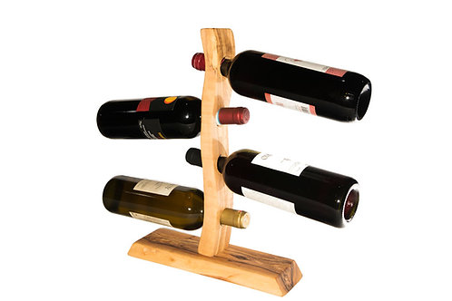 Olive wood wine rack with four holes
