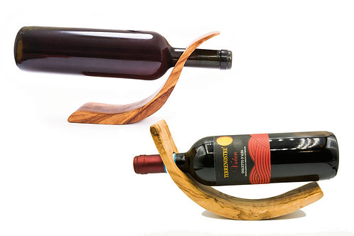 Olive wood wine rack crescent