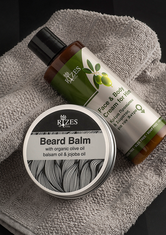 rizes crete beard balm and face and body