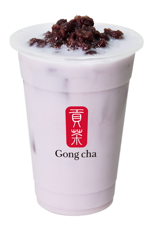 Taro Milk Tea with Red Bean
