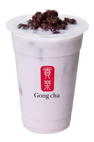 Taro Milk Tea with Red Bean