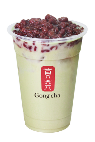 Matcha Milk Tea with Red Bean