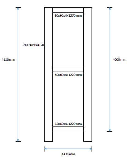 Profilių pilonams vidinės konstrukcijos išmatavimai