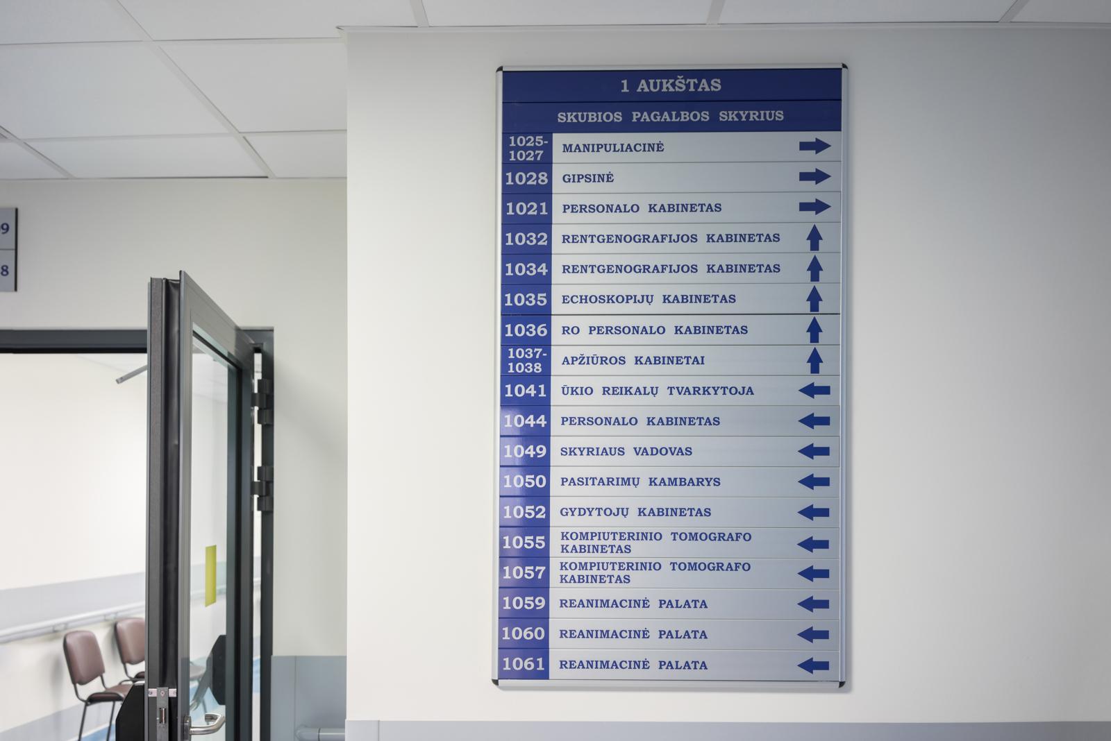 Visa skyriaus rodyklinė lenta