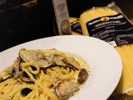 シェフのレシピを公開!                マストロサポーレスパゲティー二で作るマッシュルームのクリームソース