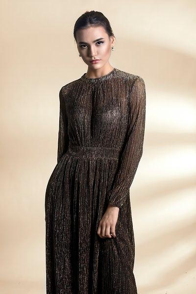 Woman wearing a sheer long black dress