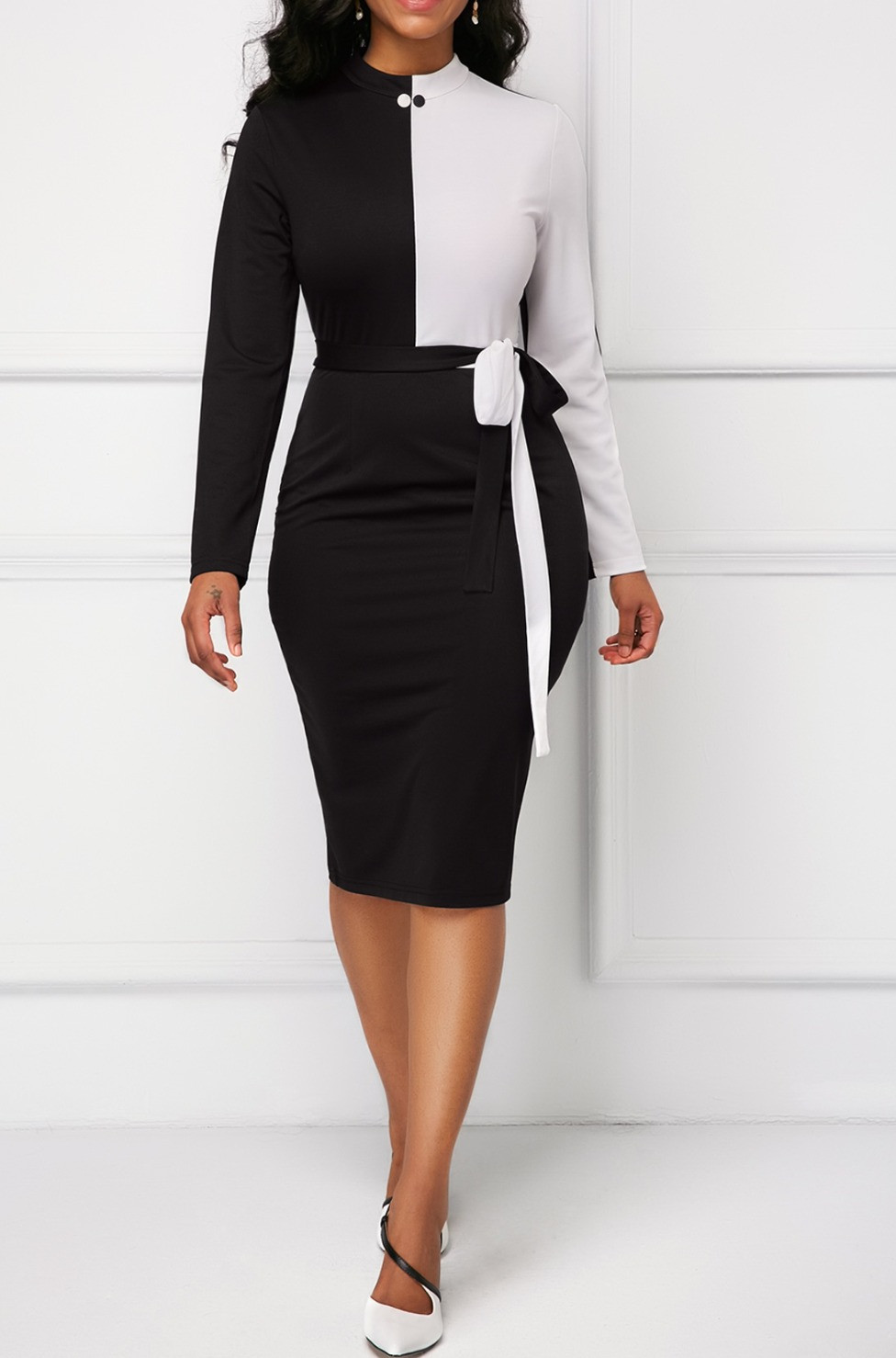 Back Slit Long Sleeve Bowknot Detail Sheath Dress